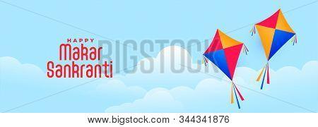 Flying Kites In Sky For Makar Sankranti Indian Festival