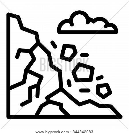 Mountains Rockfall Icon. Outline Mountains Rockfall Vector Icon For Web Design Isolated On White Bac