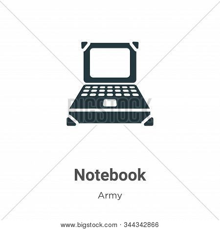Notebook icon isolated on white background from army collection. Notebook icon trendy and modern Not