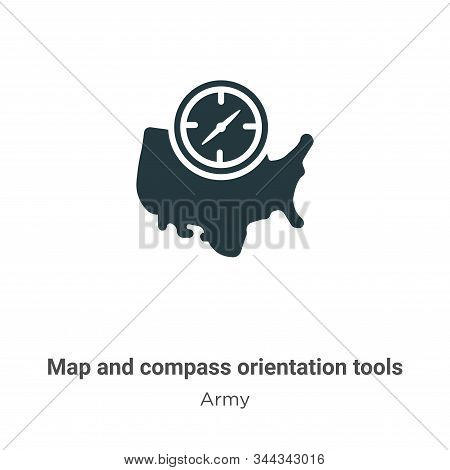 Map and compass orientation tools icon isolated on white background from army collection. Map and co