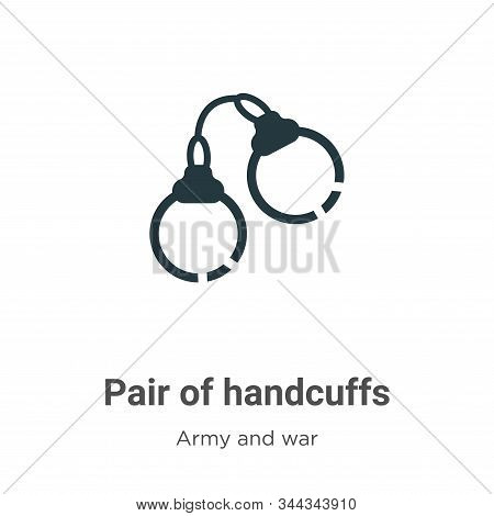 Pair of handcuffs icon isolated on white background from army and war collection. Pair of handcuffs