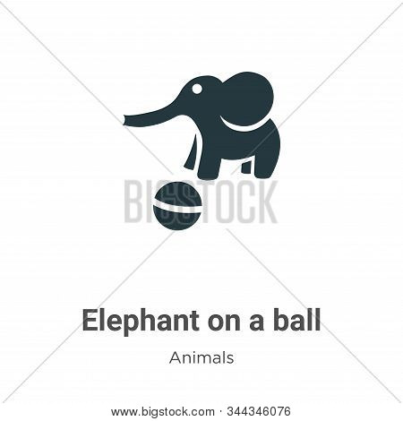 Elephant on a ball icon isolated on white background from animals collection. Elephant on a ball ico