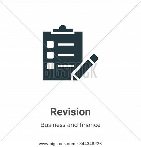 Revision Vector Icon On White Background. Flat Vector Revision Icon Symbol Sign From Modern Business