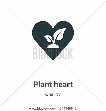 Plant heart icon isolated on white background from charity collection. Plant heart icon trendy and m