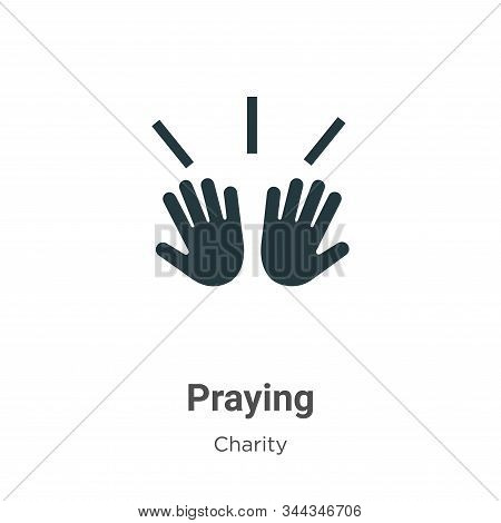 Praying icon isolated on white background from charity collection. Praying icon trendy and modern Pr