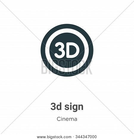 3d sign icon isolated on white background from cinema collection. 3d sign icon trendy and modern 3d