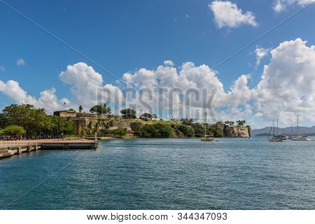 Fort-de-france, Martinique - December 13, 2018: Fort Saint Louis In Fort-de-france Bay, Martinique,