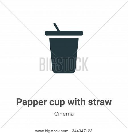 Papper cup with straw icon isolated on white background from cinema collection. Papper cup with stra