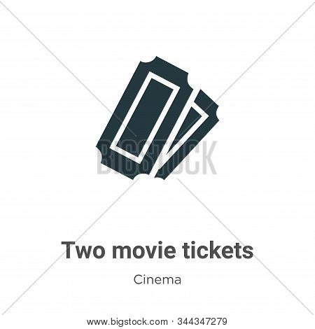 Two Movie Tickets Vector Icon On White Background. Flat Vector Two Movie Tickets Icon Symbol Sign Fr