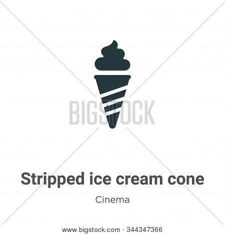 Stripped ice cream cone icon isolated on white background from cinema collection. Stripped ice cream