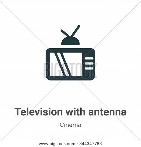 Television with antenna icon isolated on white background from cinema collection. Television with an