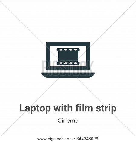 Laptop with film strip icon isolated on white background from cinema collection. Laptop with film st