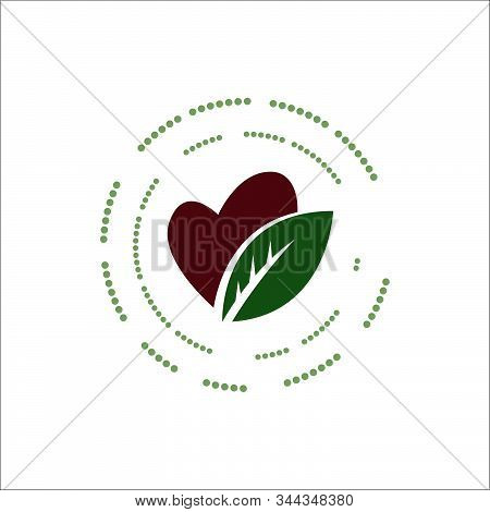 Healthy Eating Logo Design Silhoutte Of Heart Spoon Fork And Leaves Icon Vector Illustration