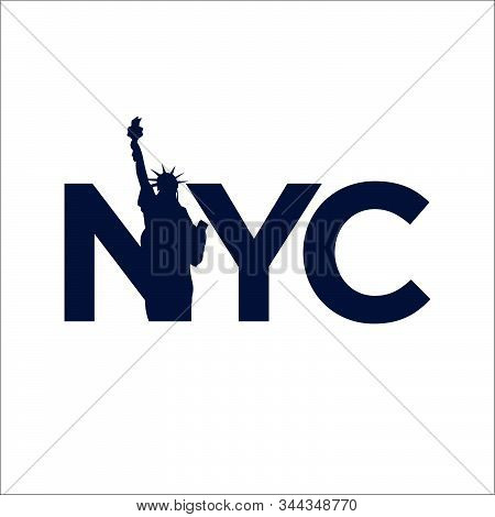New York City Abbreviation Nyc Lettering A Modern City Symbol Liberty Statue Graphic Element