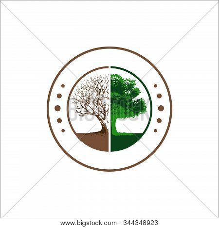 Forest Conservation Logo Design Vector Silhoutte Of Broken Tree To Bloom Illustrations