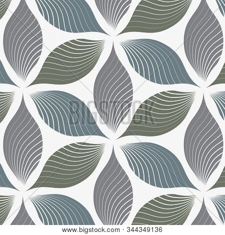 Vector Pattern, Repeating Abstract Linear Petals Of Flower On Hexagon Shape. Graphic Clean For Fabri