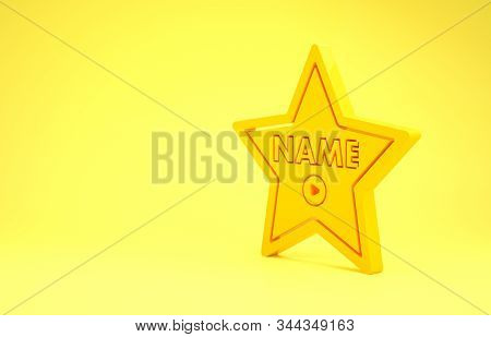 Yellow Hollywood Walk Of Fame Star On Celebrity Boulevard Icon Isolated On Yellow Background. Hollyw