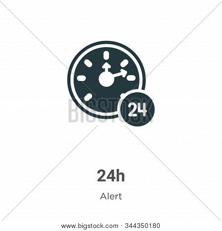24h Vector Icon On White Background. Flat Vector 24h Icon Symbol Sign From Modern Alert Collection F