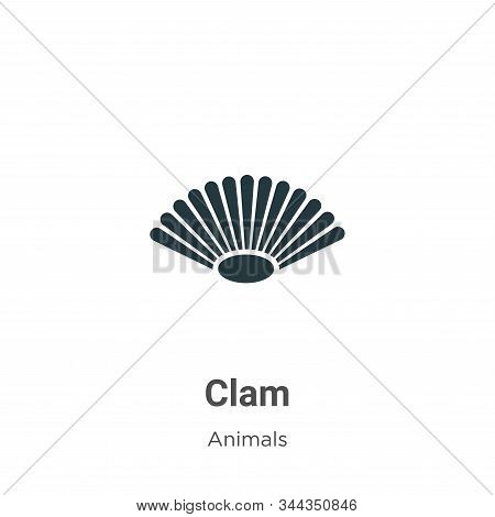 Clam Vector Icon On White Background. Flat Vector Clam Icon Symbol Sign From Modern Animals Collecti