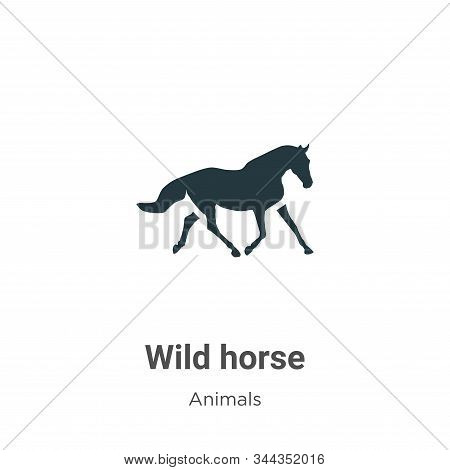 Wild Horse Vector Icon On White Background. Flat Vector Wild Horse Icon Symbol Sign From Modern Anim