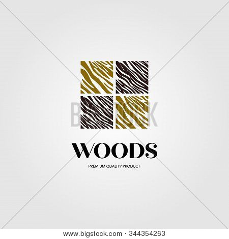 Wood Parquet Flooring Vinyl Hardwood Granite Tile Logo Design With Window Vector Symbol