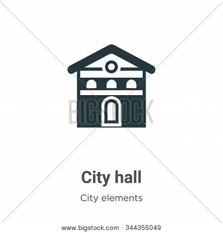 City Hall Vector Icon On White Background. Flat Vector City Hall Icon Symbol Sign From Modern City E