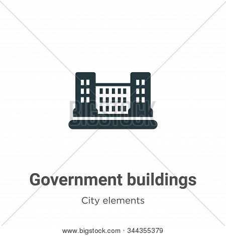 Government buildings icon isolated on white background from city elements collection. Government bui