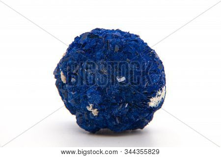 Macro Mineral Stone Malachite And Azurite Against White Background, Close Up