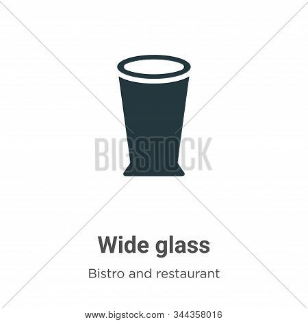 Wide Glass Vector Icon On White Background. Flat Vector Wide Glass Icon Symbol Sign From Modern Bist