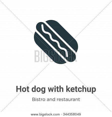 Hot dog with ketchup icon isolated on white background from bistro and restaurant collection. Hot do