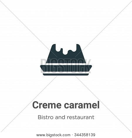 Creme Caramel Vector Icon On White Background. Flat Vector Creme Caramel Icon Symbol Sign From Moder