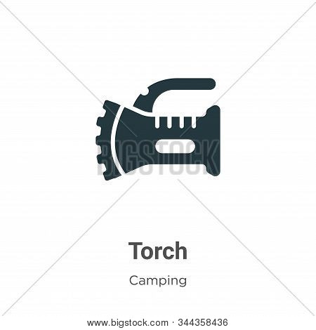 Torch icon isolated on white background from camping collection. Torch icon trendy and modern Torch