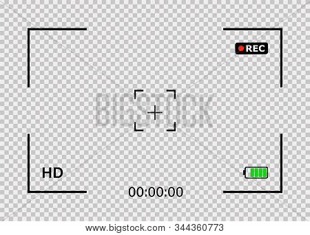Camera Frame Isolated Vector Template. Viewfinder Screen Of Video Recorder. Video Camera Viewfinder