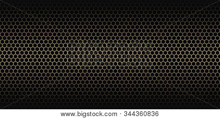 Yellow Abstract Background. Golden Honeycomb Pattern. Linear Website Template On Black Backdrop. Vec