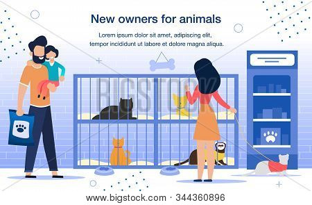 New Owners For Homeless Animals In Shelter Trendy Flat Vector Promotion Banner, Poster Template. Fam