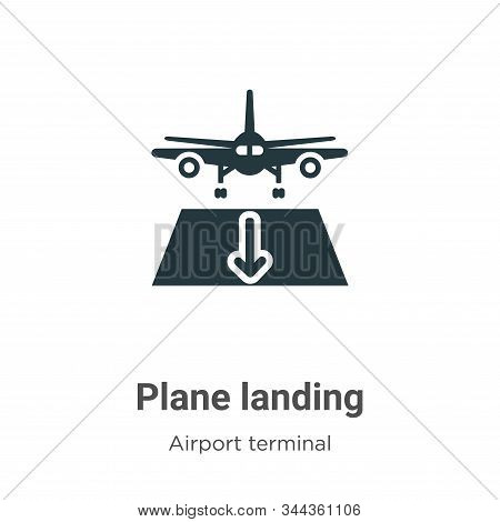 Plane landing icon isolated on white background from airport terminal collection. Plane landing icon