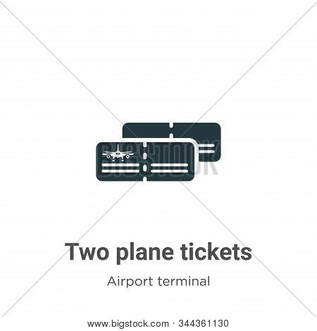 Two plane tickets icon isolated on white background from airport terminal collection. Two plane tick