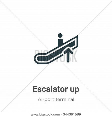Escalator up icon isolated on white background from airport terminal collection. Escalator up icon t