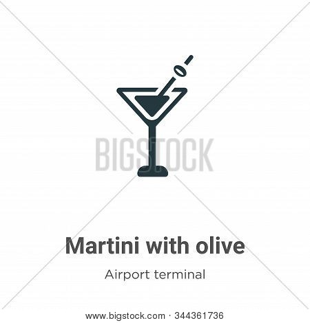 Martini With Olive Vector Icon On White Background. Flat Vector Martini With Olive Icon Symbol Sign