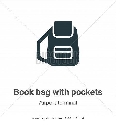 Book bag with pockets icon isolated on white background from airport terminal collection. Book bag w