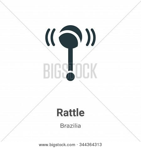 Rattle Vector Icon On White Background. Flat Vector Rattle Icon Symbol Sign From Modern Brazilia Col