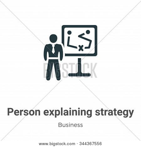 Person Explaining Strategy On A Board With A Sketch Vector Icon On White Background. Flat Vector Per