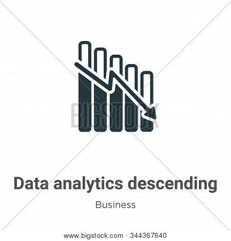 Data Analytics Descending Line Graphic Vector Icon On White Background. Flat Vector Data Analytics D