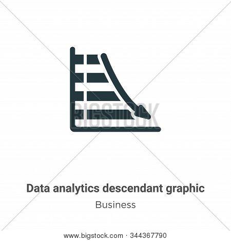 Data Analytics Descendant Graphic Vector Icon On White Background. Flat Vector Data Analytics Descen