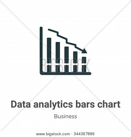 Data Analytics Bars Chart With Descendant Line Vector Icon On White Background. Flat Vector Data Ana