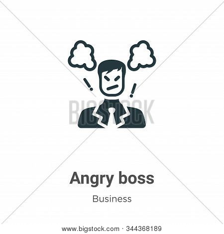 Angry Boss Vector Icon On White Background. Flat Vector Angry Boss Icon Symbol Sign From Modern Busi