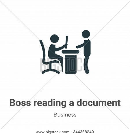 Boss reading a document icon isolated on white background from business collection. Boss reading a d