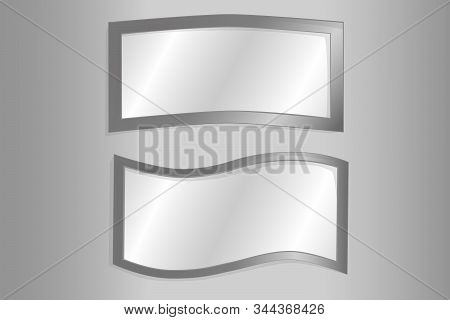 Empty Mirrors With Reflect In Mockup Style. Mirror Frames Or Mirror Decor Interior Vector Illustrati