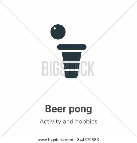 Beer Pong Vector Icon On White Background. Flat Vector Beer Pong Icon Symbol Sign From Modern Activi