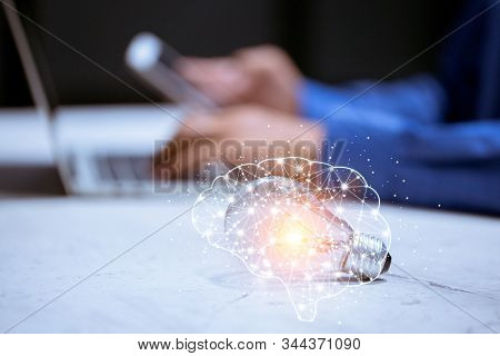 Light Bulb,with Brain Icon,creativity And Innovative Are Keys To Success,new Ideas And Innovation Co